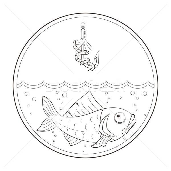Fishing. Fish in water and fishhook Stock photo © Aleksangel