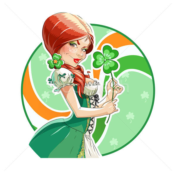 Beautiful girl with shamrock for saint Patricks day Stock photo © Aleksangel