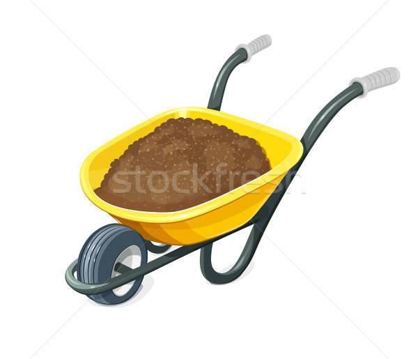 Wheelbarrow with ground. Gardening tools. Stock photo © Aleksangel