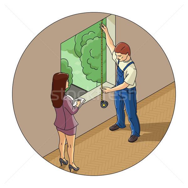 Man and woman measure window Stock photo © Aleksangel