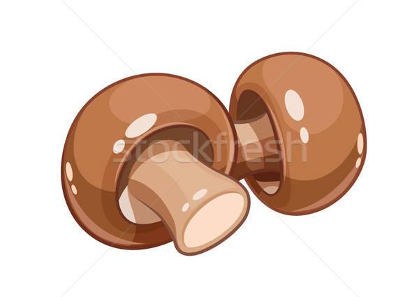 Fresh champignon mushroom vector illustration eps10 isolated Stock photo © Aleksangel