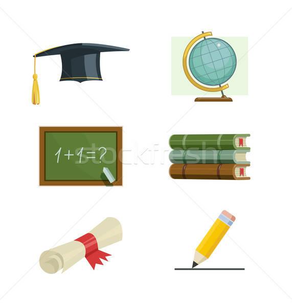 Istruzione set vettore icone illustrazione studenti Foto d'archivio © Aleksangel