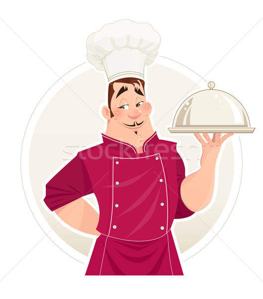 Chief cook with tray for food. Stock photo © Aleksangel