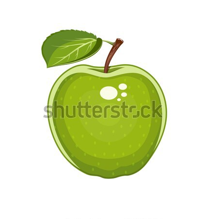 Green apple with leaf. Natural sweet fruit. Stock photo © Aleksangel