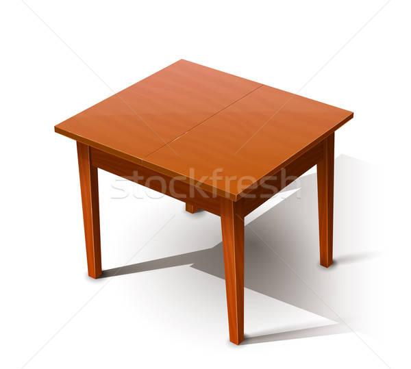 Tavolo in legno eps10 isolato bianco trasparente oggetti Foto d'archivio © Aleksangel