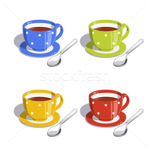 Tea cup and spoon. Set of vector illustrations Stock photo © Aleksangel