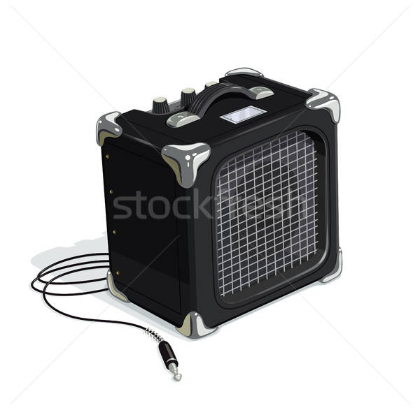 Black guitar combo amplifier with cord Stock photo © Aleksangel