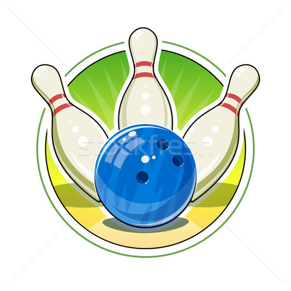 Bowling ball and skittles for game Stock photo © Aleksangel
