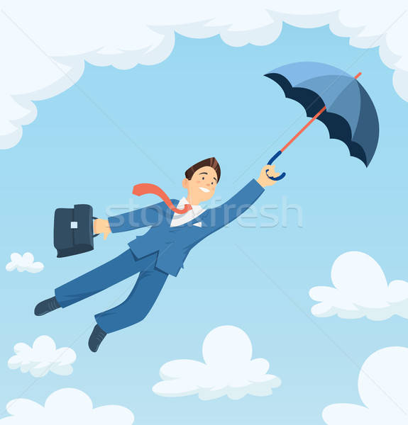Businessman flying with umbrella in sky. Stock photo © Aleksangel