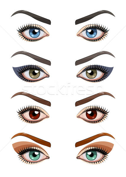 Stock photo: Womans eyes with make-up