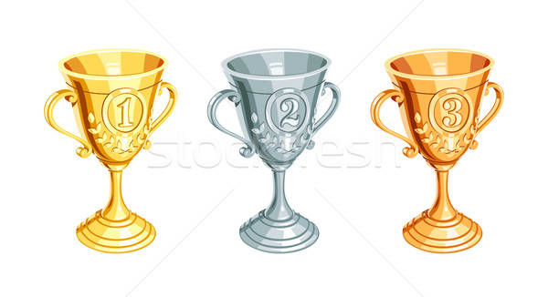 Gold, bronze, silver champion cup Stock photo © Aleksangel