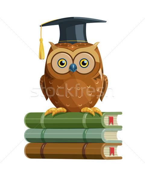 Intelligente gufo seduta libri istruzione uccello Foto d'archivio © Aleksangel