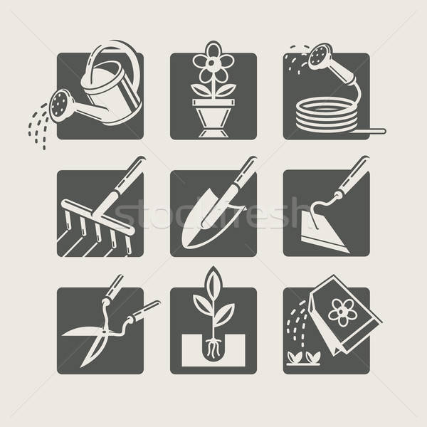 Garden tools. Icons set Stock photo © Aleksangel