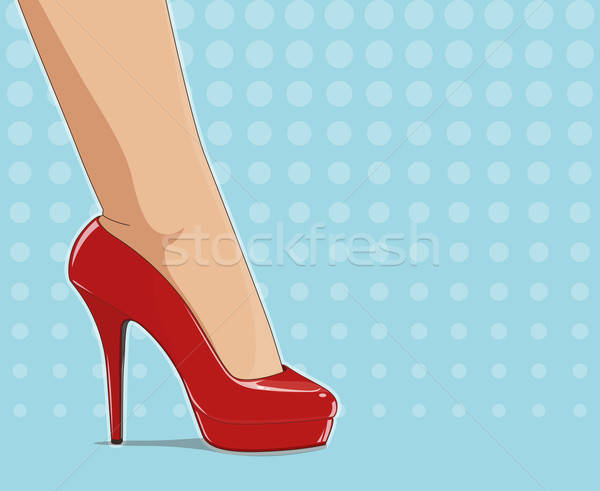 Red fashionable shoes on female foot Stock photo © Aleksangel