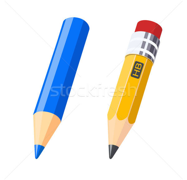 Set of colour and gray pencils for drawing Stock photo © Aleksangel