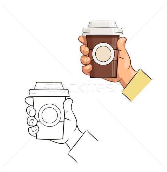 Beker koffie hand eps10 geïsoleerd witte Stockfoto © Aleksangel
