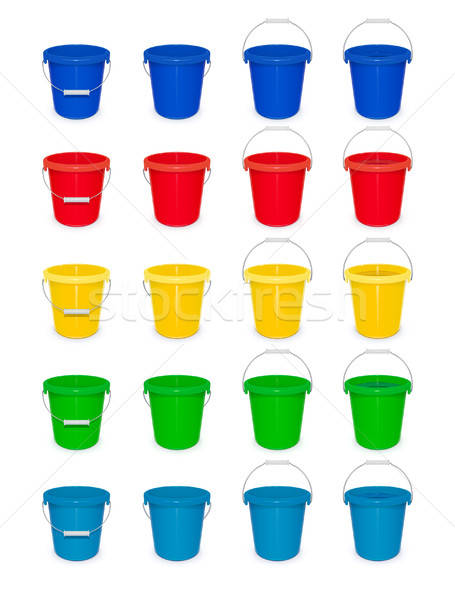 Blue plastic empty bucket with handle for cleaning and housekeeping. Set. Stock photo © Aleksangel