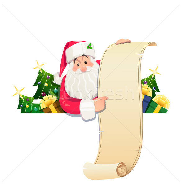 Santa Claus with scroll and gift Stock photo © Aleksangel