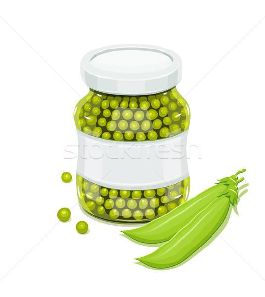 Vetro jar piselli naturale alimentare eps10 Foto d'archivio © Aleksangel