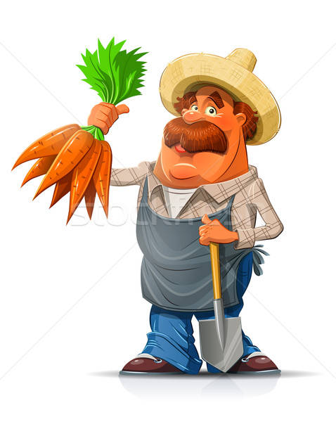 Gardener with carrot and shovel Stock photo © Aleksangel