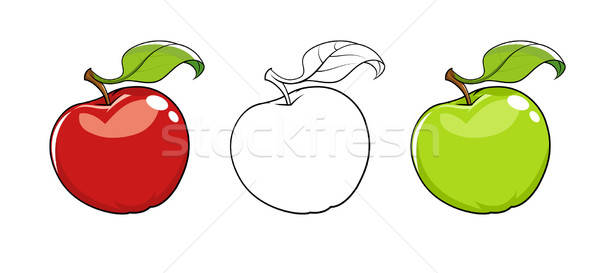 Ripe fresh apple with leaf Stock photo © Aleksangel
