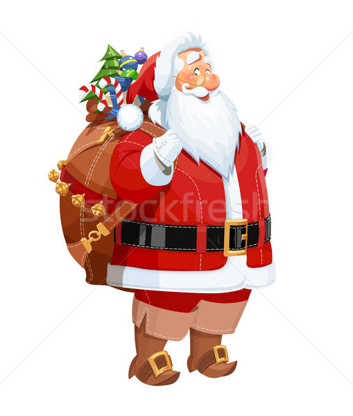 Smiling Santa Claus with gift sack. Christmas character. Stock photo © Aleksangel