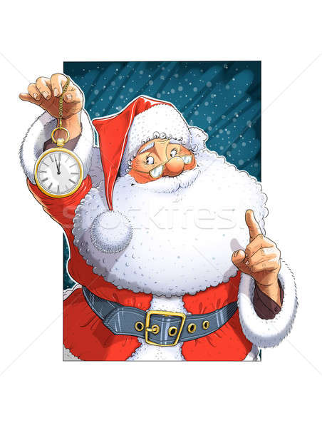 Santa Claus with clock Stock photo © Aleksangel