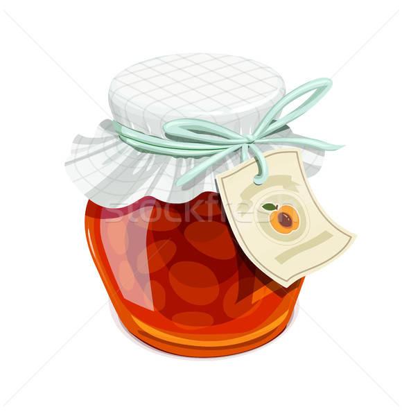 Apricot jam jar. Vintage style. Stock photo © Aleksangel