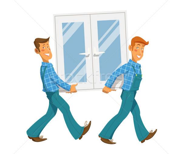 Two mans carry window Stock photo © Aleksangel