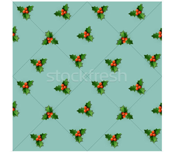 Holly berry with leaves.  Christmas seamless pattern. Stock photo © Aleksangel