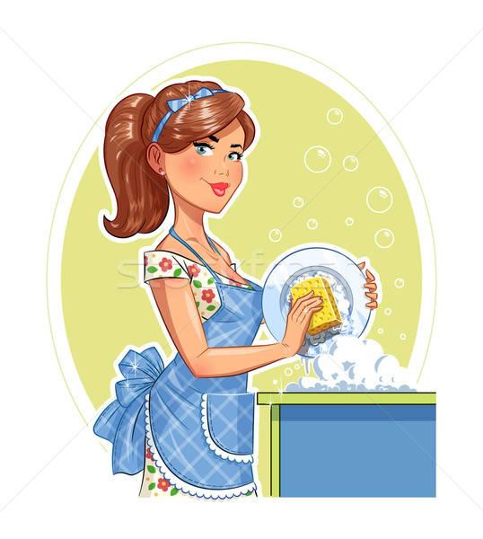 Stock fotó: Gyönyörű · lány · mosás · tányér · eps10 · izolált · fehér