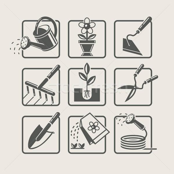 Garden tools. Icons set Stock photo © Aleksangel
