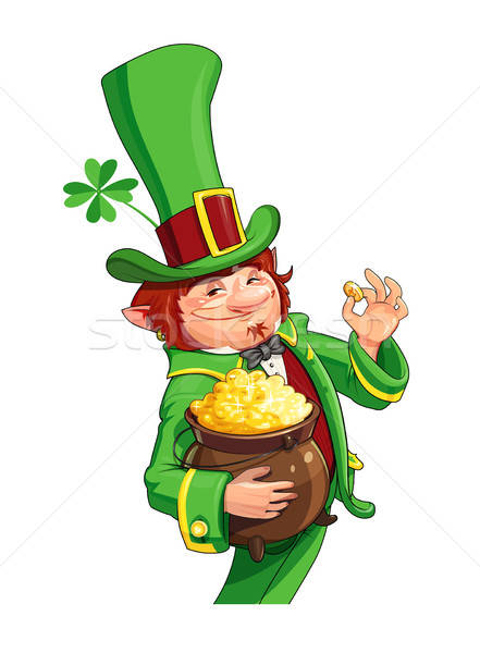 Gnome leprechaun. Fairy-tale character for Saint Patrick's Day Stock photo © Aleksangel