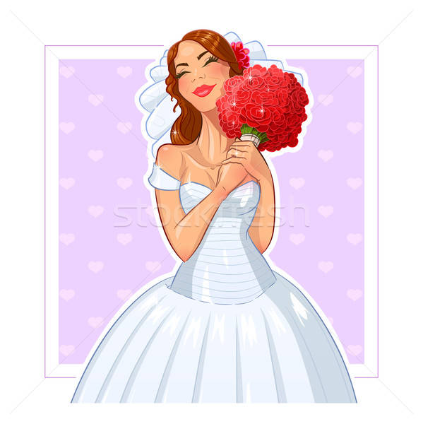 Beautiful bride with bunch of roses Stock photo © Aleksangel
