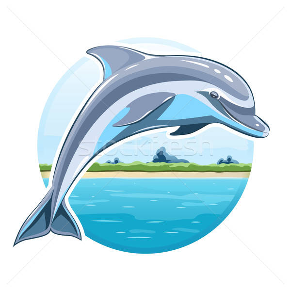 Dolphin on sea background Stock photo © Aleksangel
