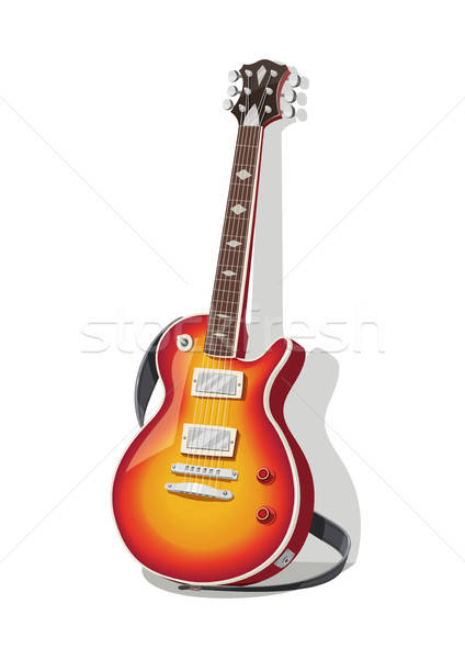 Classic electric guitar with strap. Stock photo © Aleksangel