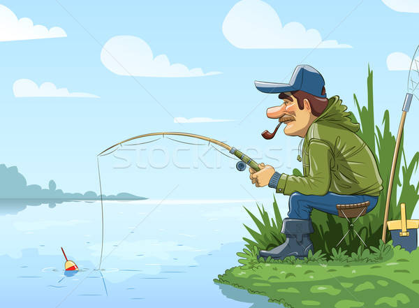 Fisherman with rod fishing on river Stock photo © Aleksangel