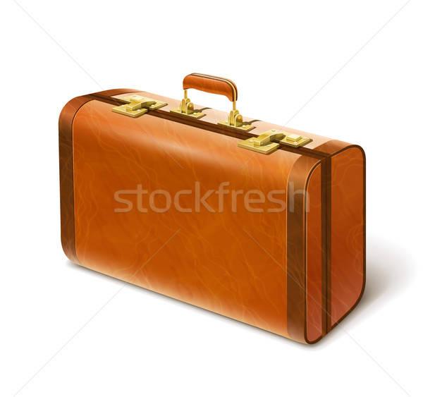 Groot leder koffer geïsoleerd witte eps10 Stockfoto © Aleksangel
