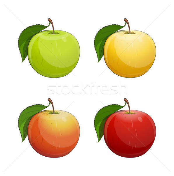 Ripe apple with green leaf Stock photo © Aleksangel