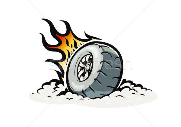Car wheel with burning fire Stock photo © Aleksangel