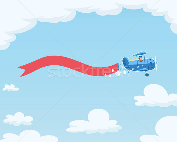 Airplane with flag flying in sky. Stock photo © Aleksangel