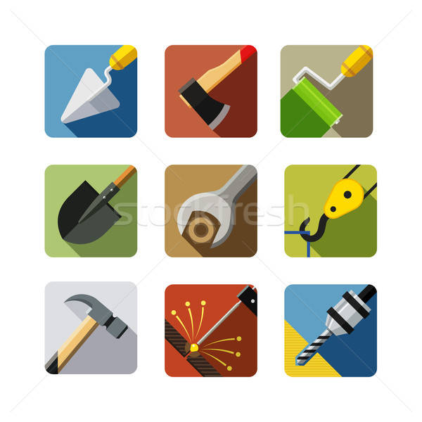 construction tools. set of vector icons Stock photo © Aleksangel