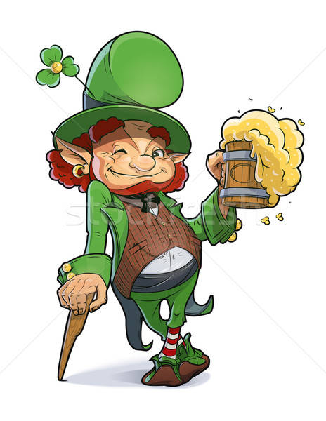 Dwarf with beer. Illustration for saint Patricks day. Stock photo © Aleksangel