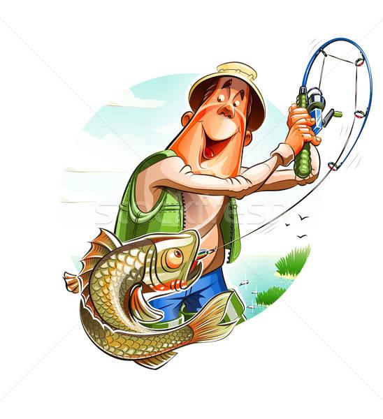 Fisherman and fish Stock photo © Aleksangel