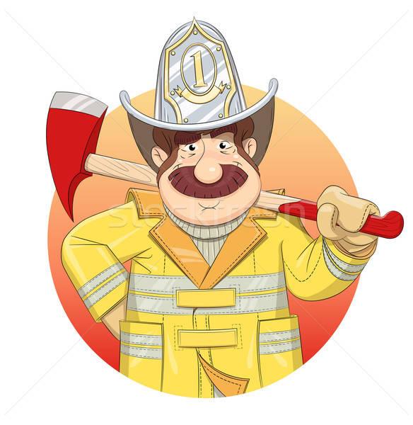 Fireman in uniform with ax. Stock photo © Aleksangel
