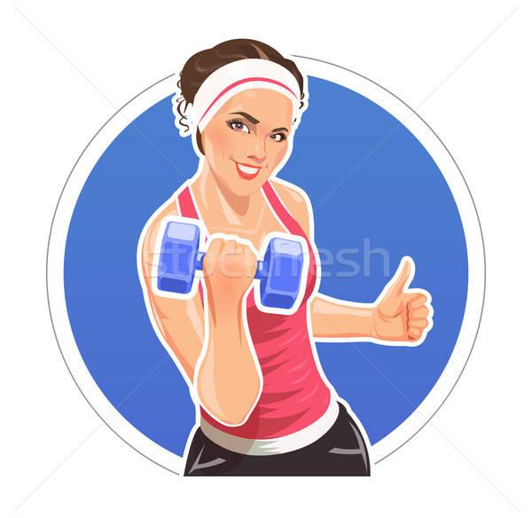 Girl with dumbbells for fitness Stock photo © Aleksangel