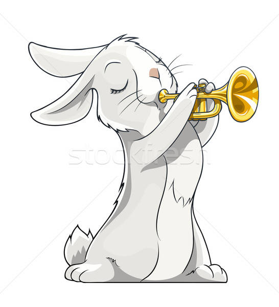 hare playing trumpet Stock photo © Aleksangel
