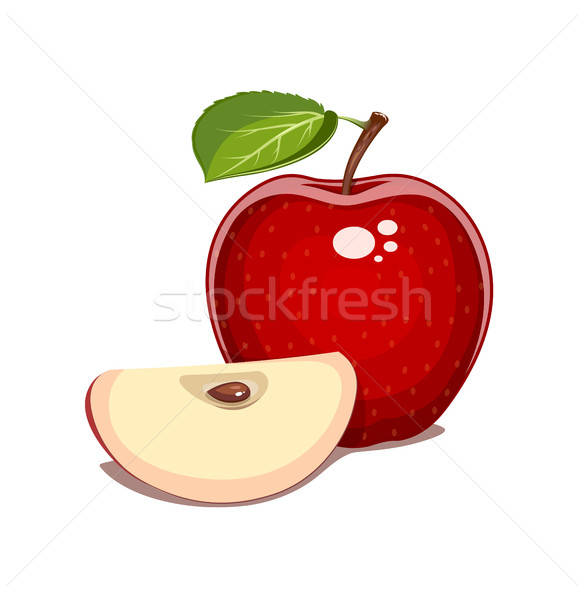 Red apple with leaf and clove. Natural sweet fruit. Stock photo © Aleksangel