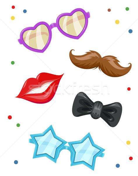 Glasses, moustache, lip,  bow-tie. Masks for birthday party. Stock photo © Aleksangel