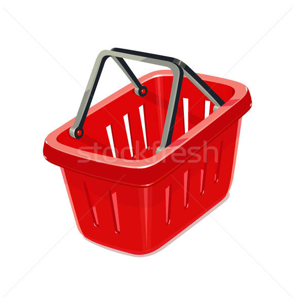 Red plastic basket for shopping. Stock photo © Aleksangel